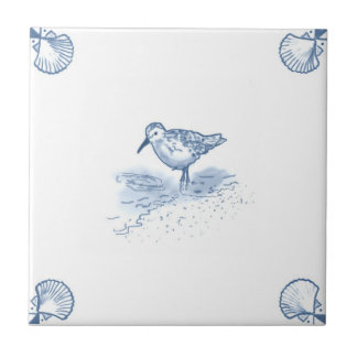 Delft Sandpiper Tile with Shell Corners