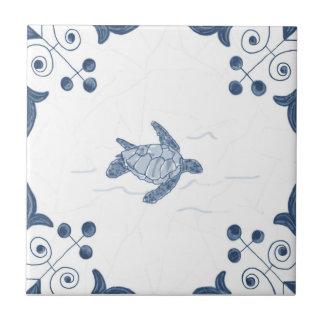 Delft Sea Turtle Tile with Scroll Corners