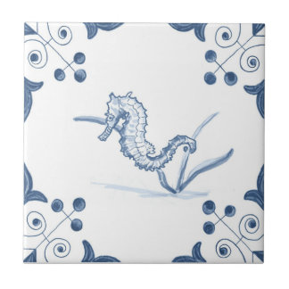 Delft Seahorse Tile with Scroll Corners