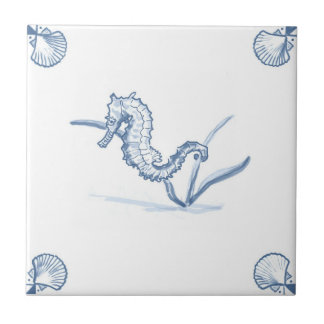 Delft Seahorse Tile with Shell Corners