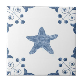 Delft Starfish Tile with Scroll Corners