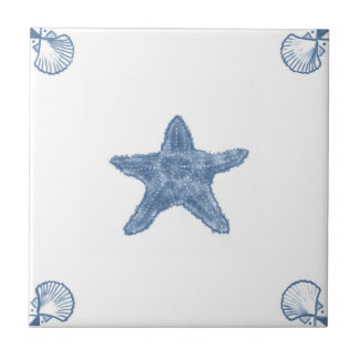 Delft Starfish Tile with Shell Corners
