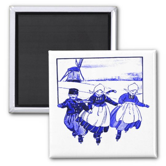 Delft Style,Blue Ducth Kids On Skates Magnet