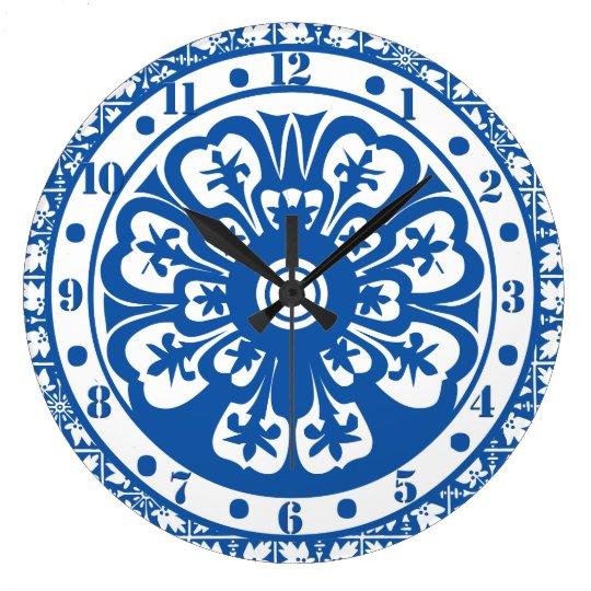 Delft Style Clock Delft Colours Blue and White