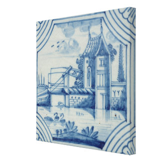 Delft tile showing a drawbridge over a canal, 19th stretched canvas prints