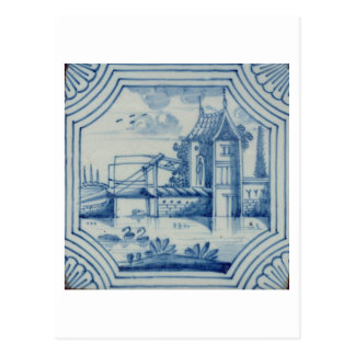 Delft tile showing a drawbridge over a canal, 19th postcard