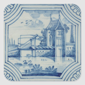 Delft tile showing a drawbridge over a canal, 19th square sticker