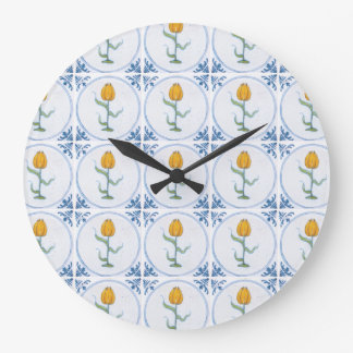 Delft Tulip Tile Art No Numbers Clock