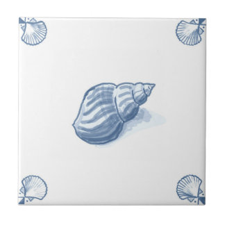 Delft Whelk Tile with Shell Corners