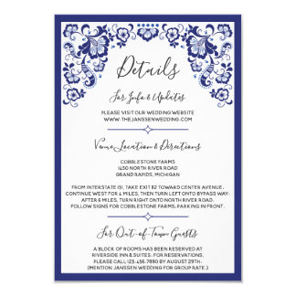 Delfts Blauw | Delft Blue Dutch Wedding Details Card