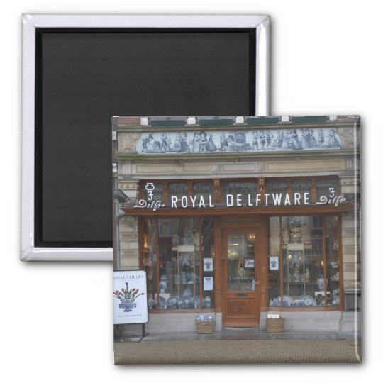 Delftware shop in Delft Square Magnet