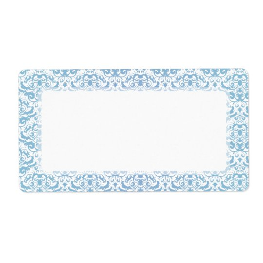 Delicate and Feminine Teal Blue and White Damask Shipping Label