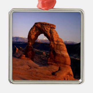 Delicate Arch at Sunset with snow covered La Christmas Ornament