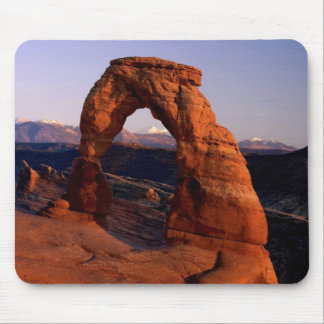 Delicate Arch at Sunset with snow covered La Mouse Pad