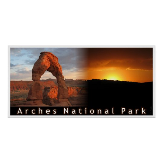 Delicate Arch Sunset Combo Poster