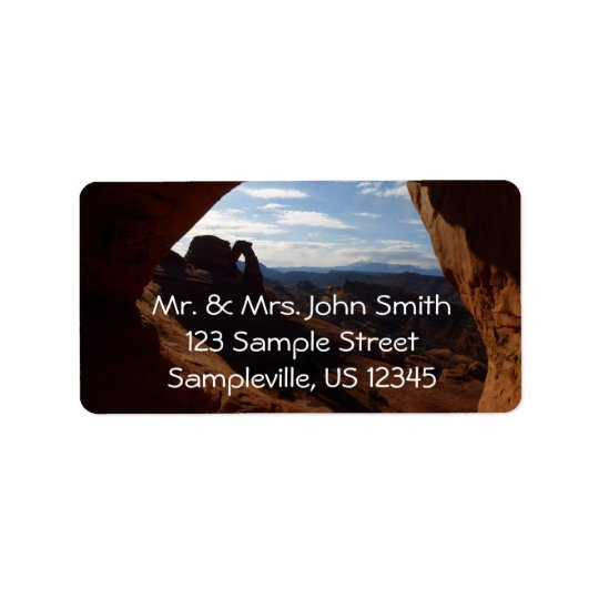 Delicate Arch through Rock Window at Arches Address Label