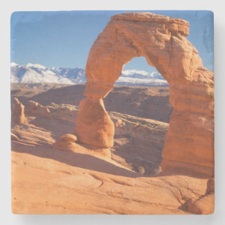Delicate Arch With The Lasalle Mountains Beyond Stone Coaster