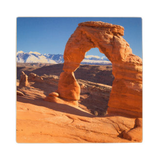 Delicate Arch With The Lasalle Mountains Beyond Wood Coaster