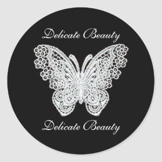 Delicate Beauty Lace Butterfly Stickers Round Sticker