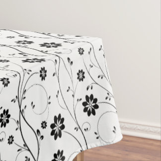 Delicate Black Flowers Tablecloth