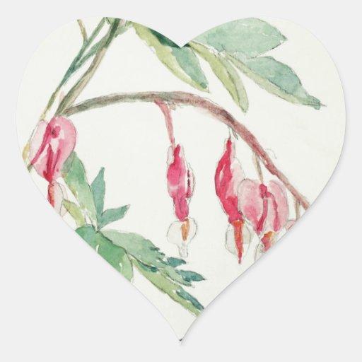 Delicate Bleeding Hearts Heart Sticker