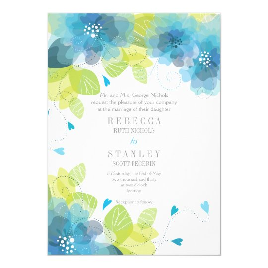 Delicate blue flowers floral spring wedding card