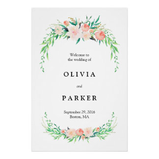 Delicate Bouquet Large Wedding Welcome Sign Poster