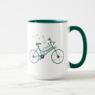 Delicate Butterflies Flowers and Freedom Bike fan Mug