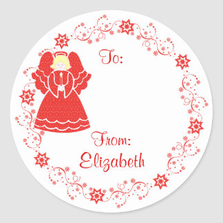 Delicate Christmas Angel Holiday Custom Gift Tag Round Sticker