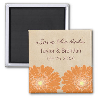 Delicate Daisies Save the Date Magnet, Orange Square Magnet