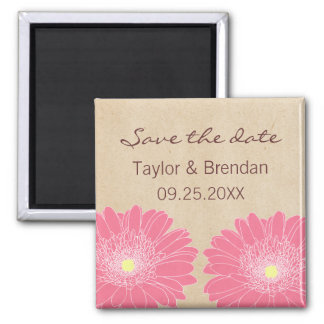 Delicate Daisies Save the Date Magnet Pink