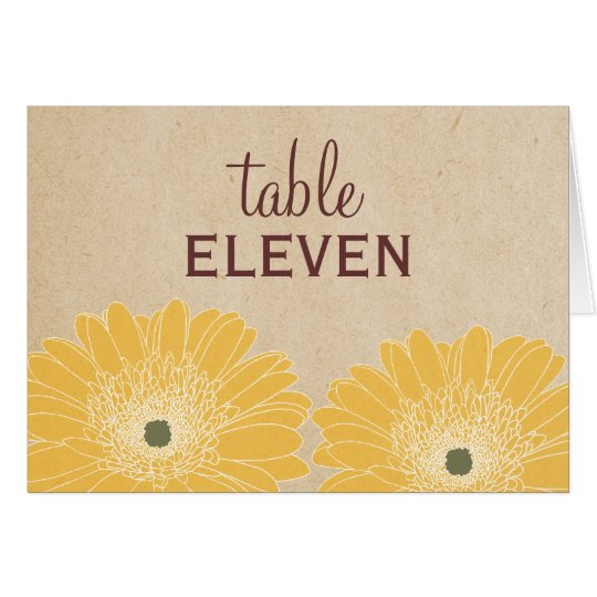 Delicate Daisies Wedding Table Card, Yellow Card