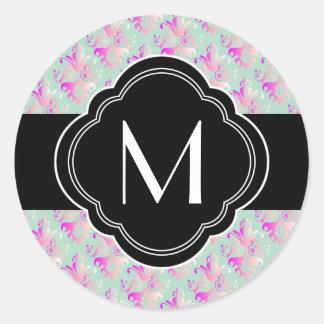 Delicate Damask Design Round Sticker
