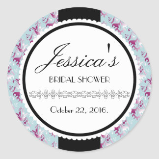 Delicate Damask Pattern Round Sticker