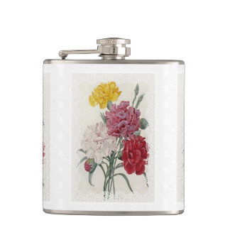 Delicate Dianthus Hip Flask