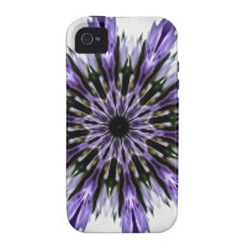 Delicate Feminine Purple Lacy Floral Kaleidoscope iPhone 4/4S Case