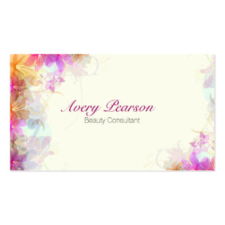 Delicate Floral Beauty Consultant Business Card