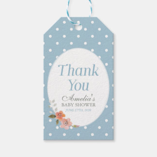 Delicate Floral Blue Polka Dot Thank You