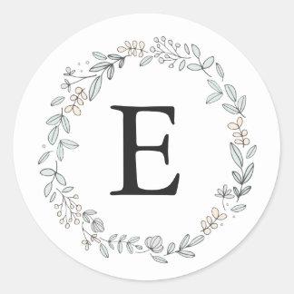 Delicate Floral Monogram Classic Round Sticker
