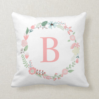 Delicate Floral Monogrammed Wreath Cushion
