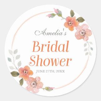 Delicate Floral Orange Bridal Shower Round Sticker