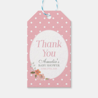 Delicate Floral Pink Polka Dot Thank You