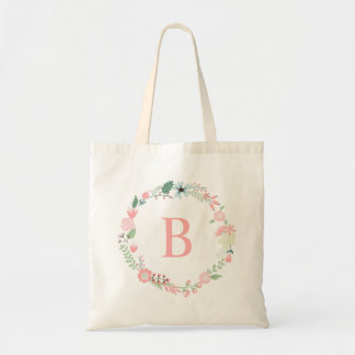 Delicate Floral Wreath Custom Monogrammed Budget Tote Bag