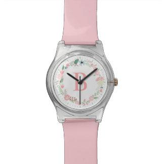 Delicate Floral Wreath Pink Monogram Watch