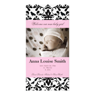 Delicate Flourish Baby Birth Announcement Cards Photo Card