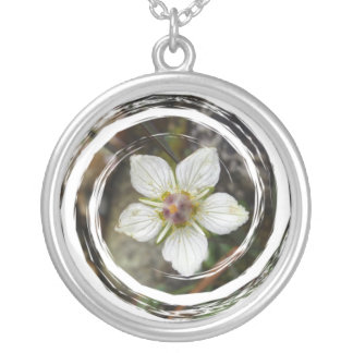 Delicate Flower on the Rocks Round Pendant Necklace