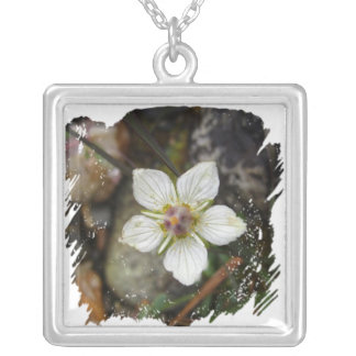 Delicate Flower on the Rocks Square Pendant Necklace