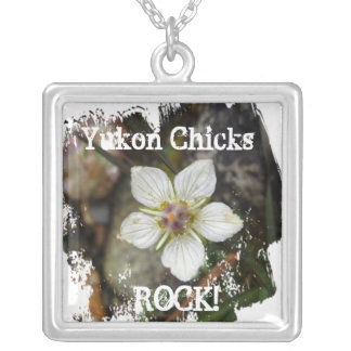 Delicate Flower on the Rocks; Yukon Chicks ROCK! Square Pendant Necklace