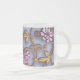 Delicate flowers arabesque frosted glass mug