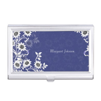 Delicate Flowers Blue and White Business Card Cases